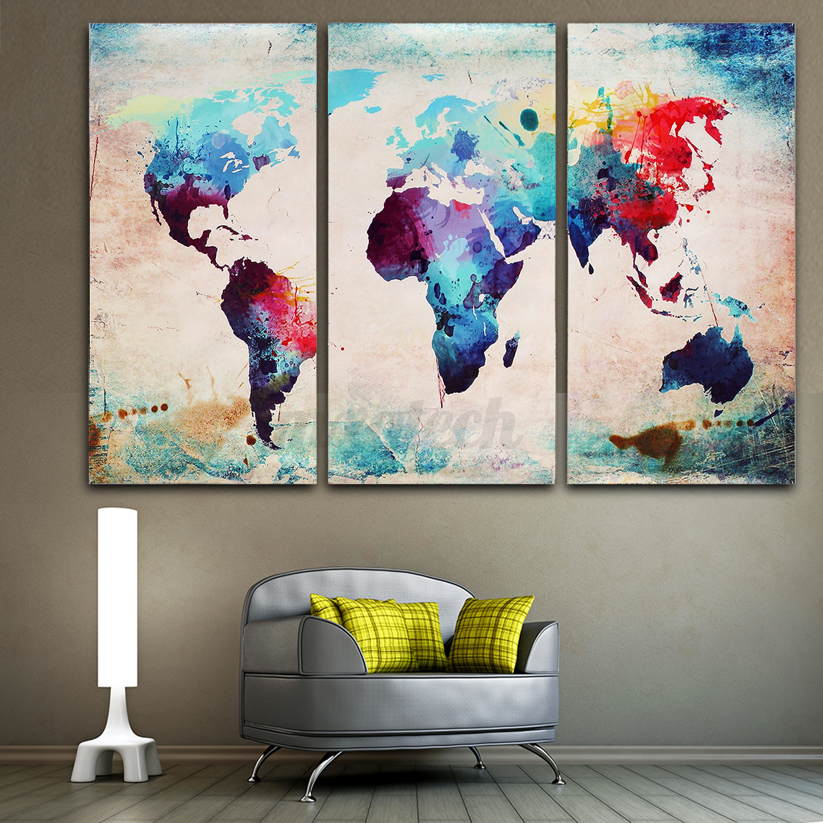 3 panel colourful art world map canvas painting print unframe wall display decor ebay. Black Bedroom Furniture Sets. Home Design Ideas