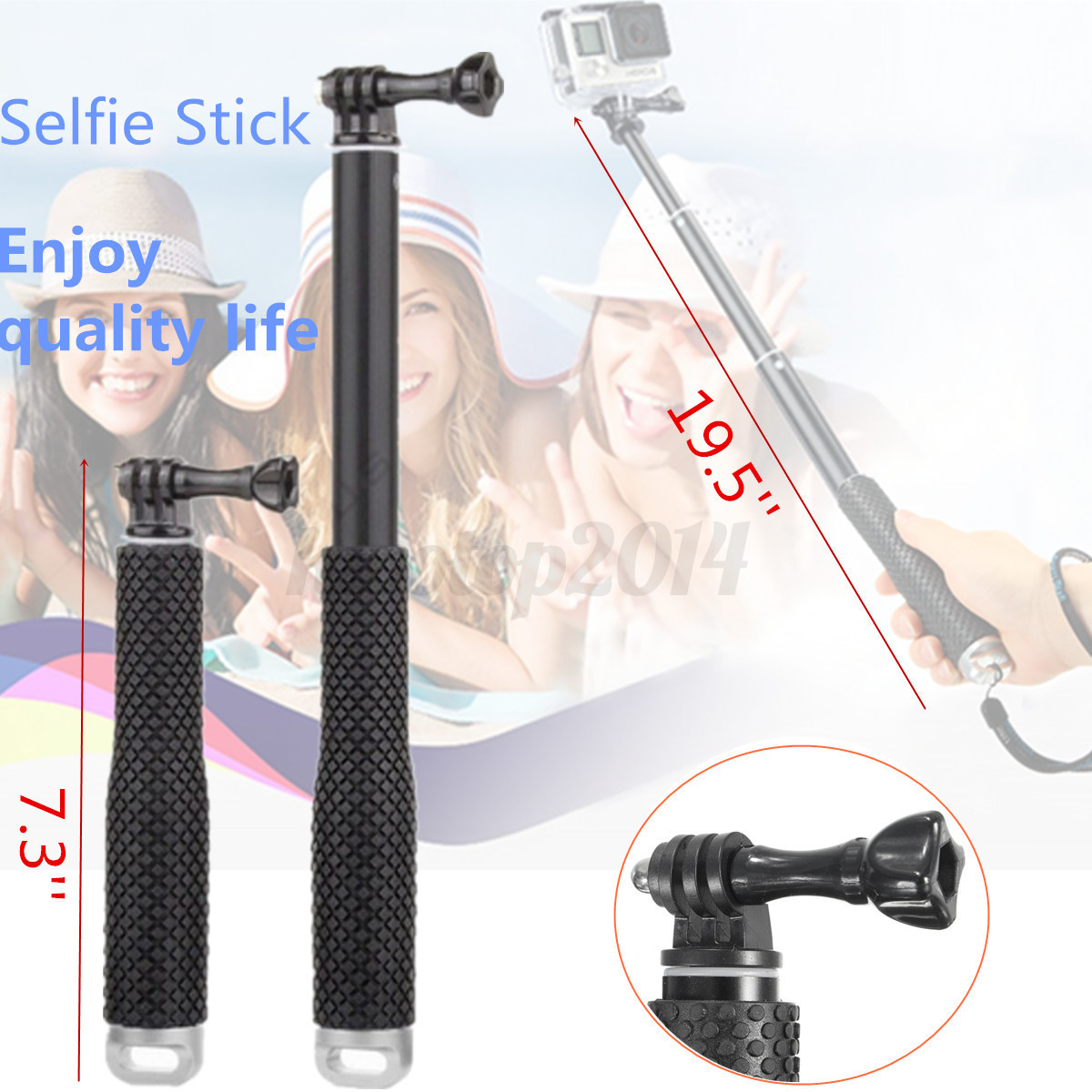 19 5 39 39 aluminum telescopic hand held waterproof selfie stick for spor. Black Bedroom Furniture Sets. Home Design Ideas
