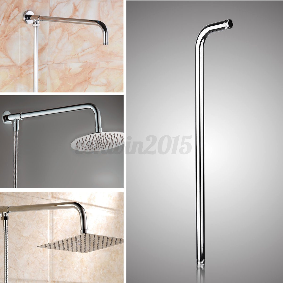 "24/"" 60cm Stainless Steel Wall Mounted Tube Rainfall Shower Head Arm Bracket"