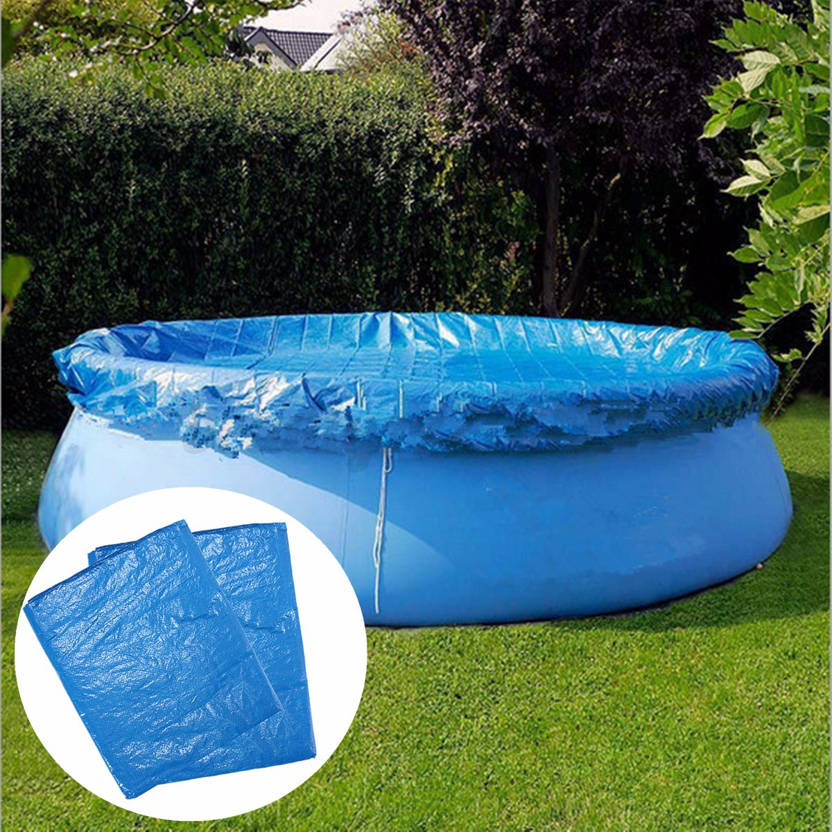 8ft 10ft Swimming Pool Cover Round With Rope Ties Inflatable Paddling Sheet Fast Ebay