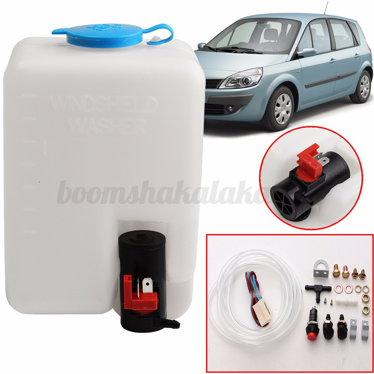 au 12v 1 8l universal car windshield washer reservoir pump bottle kit jet switch ebay. Black Bedroom Furniture Sets. Home Design Ideas