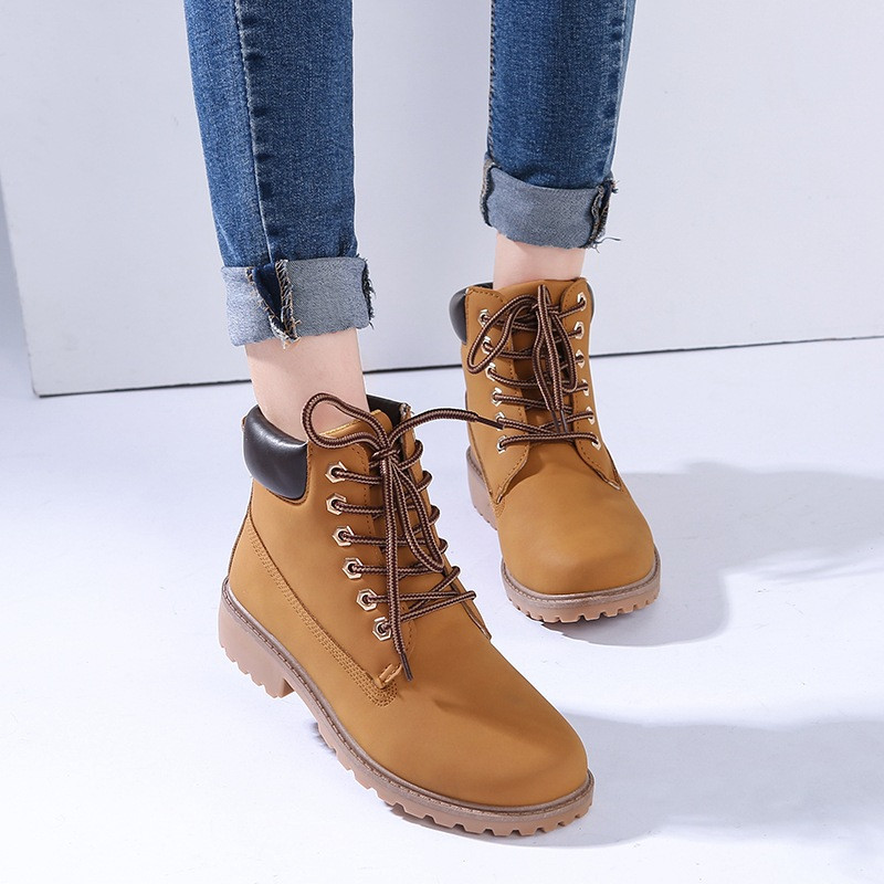 adec6a0ede74 2019 Work Boots Women s Winter Leather Boot Lace up Outdoor Waterproof Snow  Boot