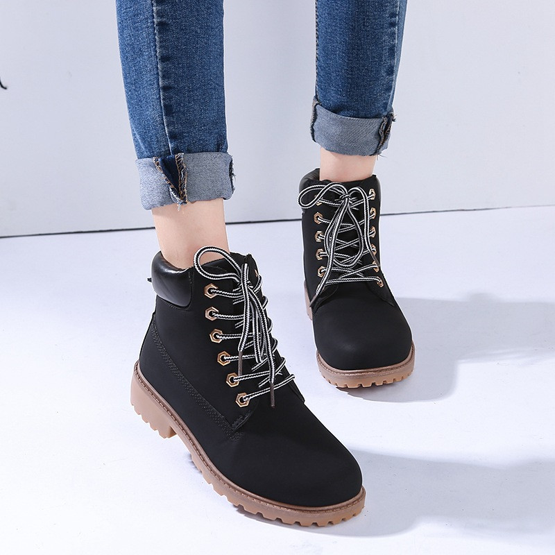 Men's Boots Imported From Abroad Shoes Men Winter Boots Leather For Mens Dr Mart British Style Old Stylish Lace Up Casual Classic Outdoor Snow Boots Black Back To Search Resultsshoes