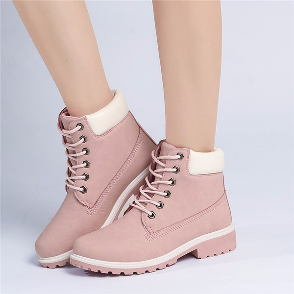 New Work Boots Women's Winter Leather Boot Lace up Outdoor ...