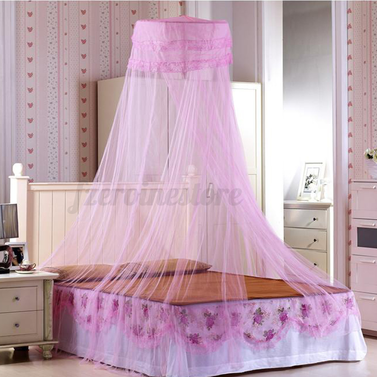 elegant lace bed mosquito netting mesh canopy princess. Black Bedroom Furniture Sets. Home Design Ideas