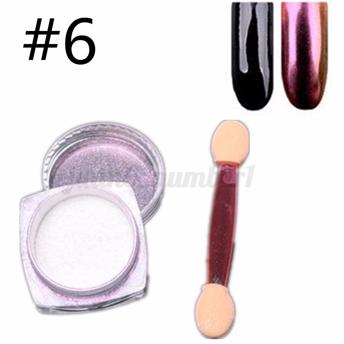 6 12 colori specchio polvere unghie effetto cromato mirror powder nail art set ebay - Polvere specchio unghie ...