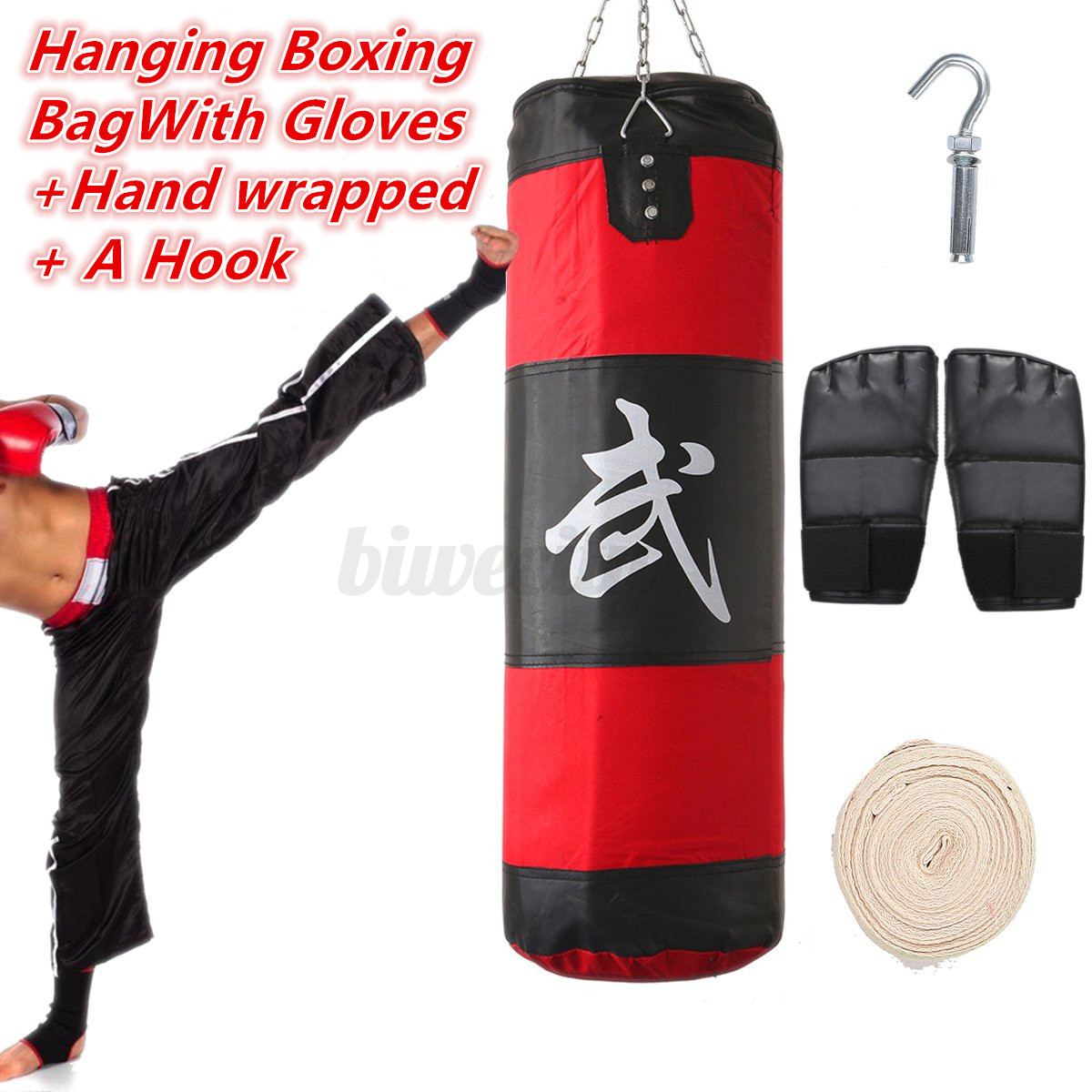 Hanging Filled Heavy Boxings Punch Bag Sandbag Training Kit With Chain Hook