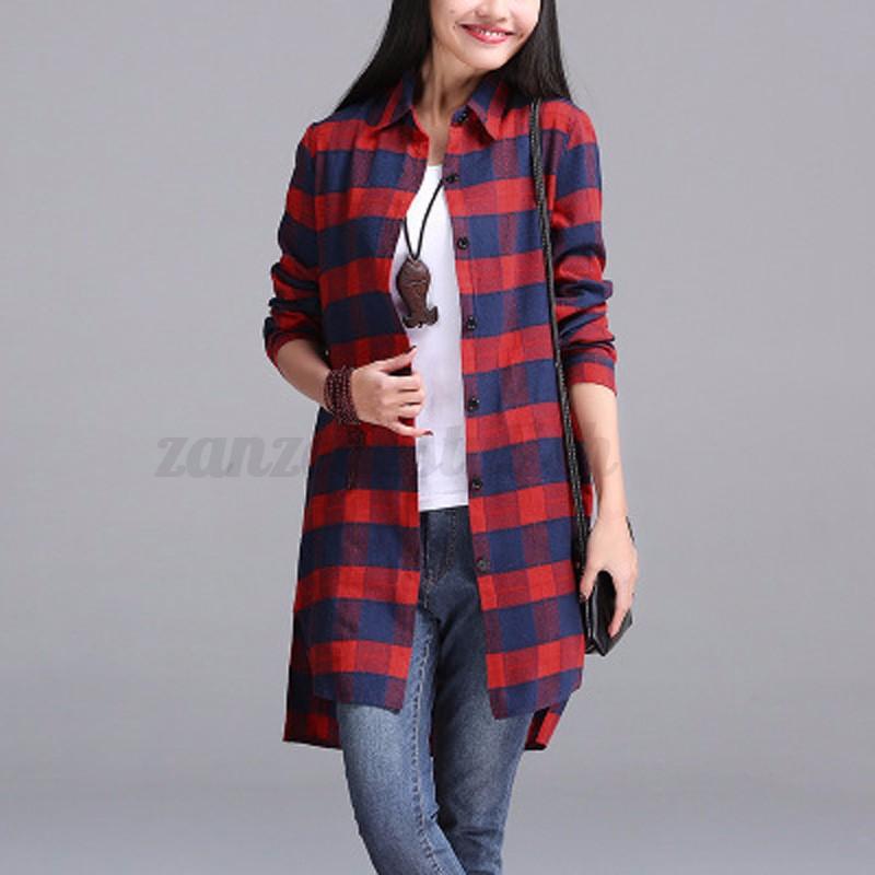 AU-8-24-Women-Check-Plaid-Long-Sleeve-Top-Blouse-Shirt-Mini-Dress-Coat-Jacket