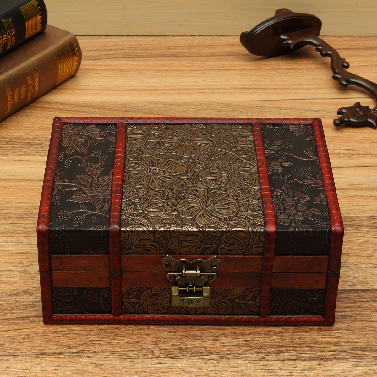wooden file box large decorative trinket jewelry lock chest handmade 29454