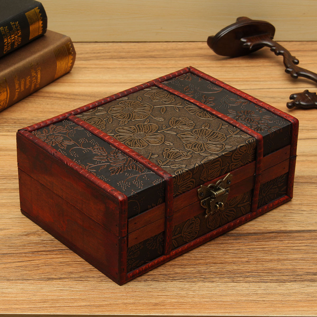 Decorative Boxes Uk: Large Decorative Trinket Jewelry Lock Chest Handmade
