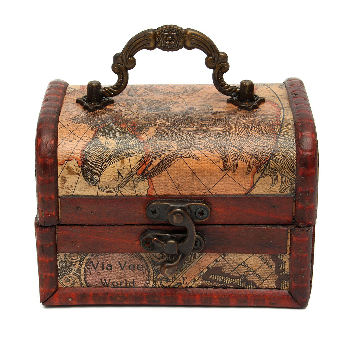How To Make A Decorative Wooden Box: Vintage Maps Gracious Wooden Jewelry Box Storage Organizer