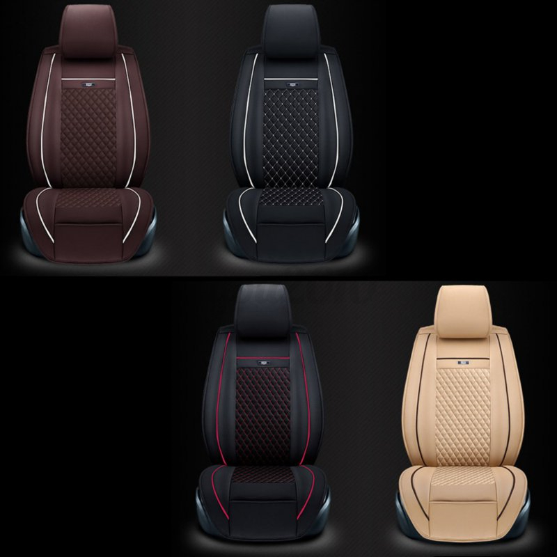 2x Universal Car SUV Front Seat Cushion Cover PU Leather