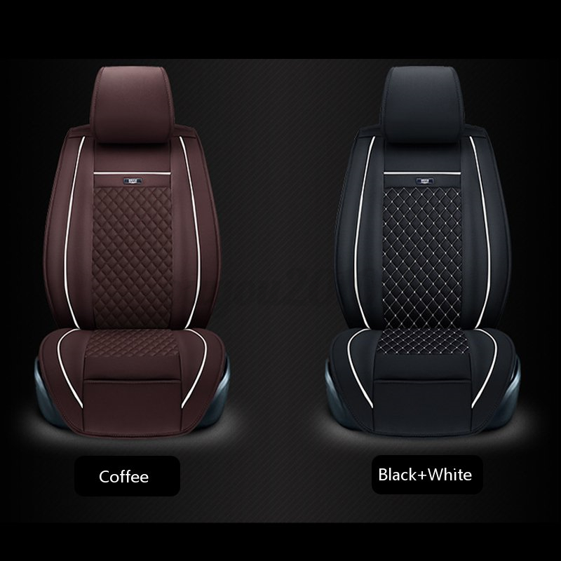 3 of 9 2x Universal Car SUV Front Seat Cushion Cover PU Leather Needlework Auto Vehicle