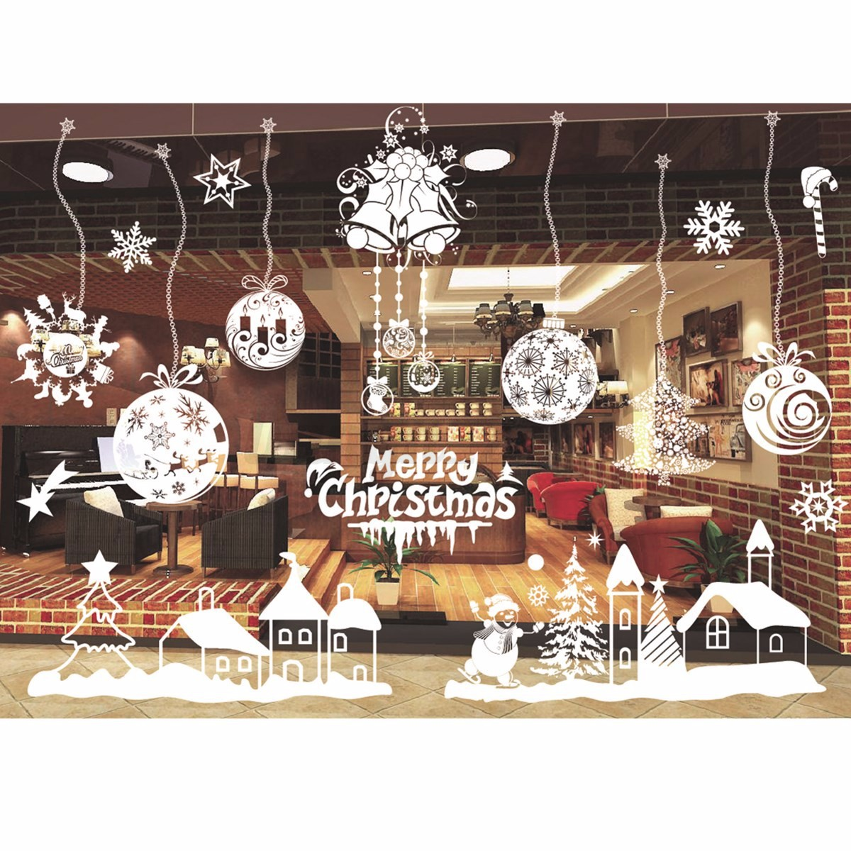 Sticker autocollant blanc no l vitrine fen tre magasin for Decoration fenetre blanc de meudon