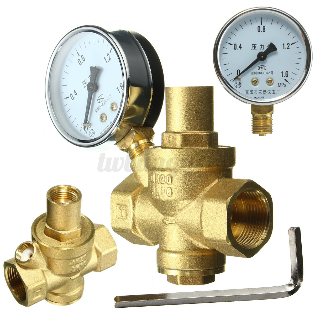 dn20 3 4 39 39 bspp brass water pressure reducing valve with gauge flow adjustable us. Black Bedroom Furniture Sets. Home Design Ideas