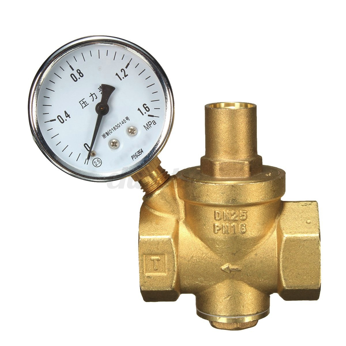 dn25 pressure reducing valve brass water flow with adjustable gauge wrench us ebay. Black Bedroom Furniture Sets. Home Design Ideas