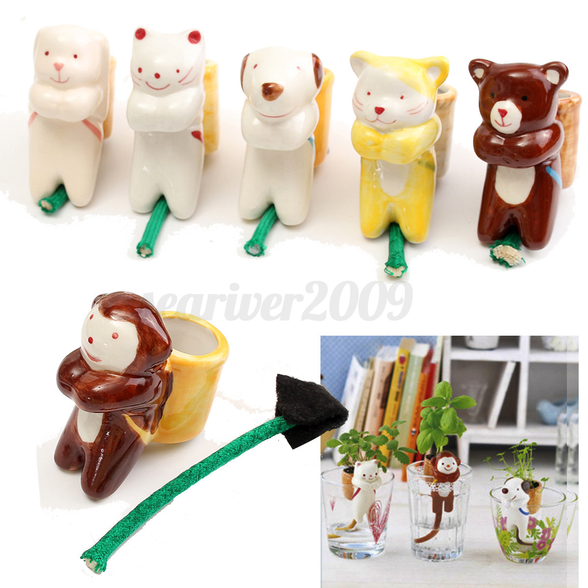 Image Is Loading Cute Ceramic Animal Planter Plant Pot Drinking Tail