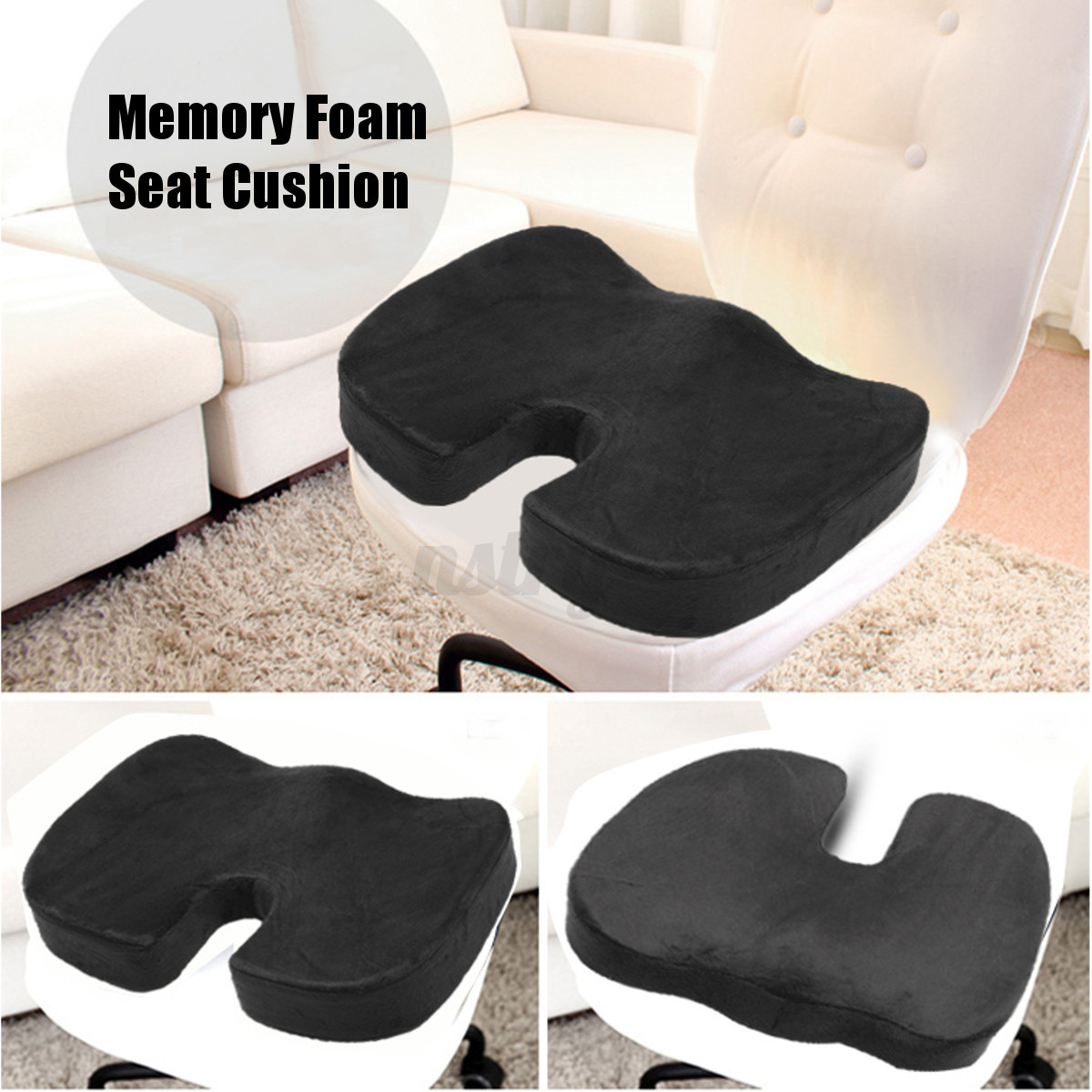 coccyx orthopedic memory foam seat cushion offic chair car seat back pain relief ebay. Black Bedroom Furniture Sets. Home Design Ideas