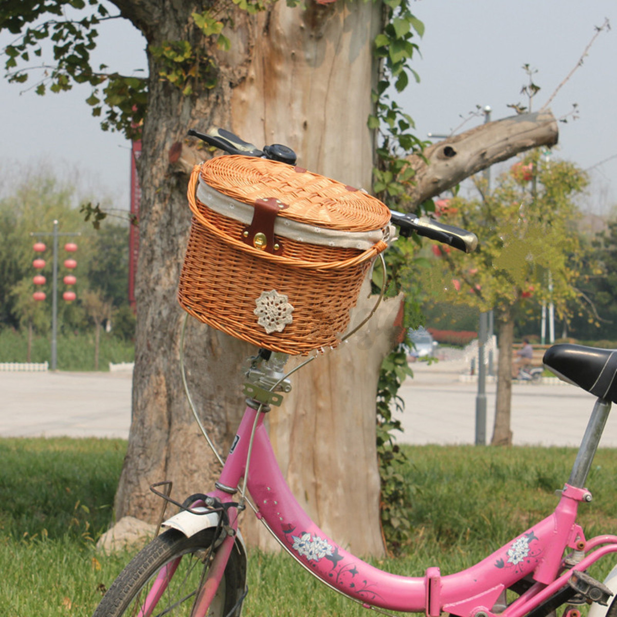 Handmade Bicycle Baskets : Handmade willow wicker bicycle front basket w lid handle
