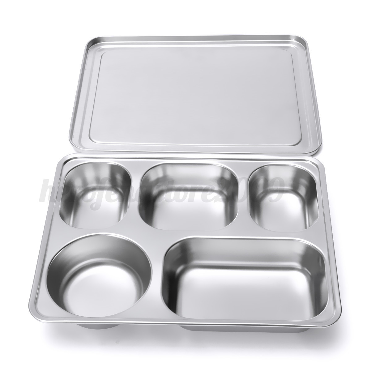 eco stainless steel food divided serving plate tray lunch dinner dish cover ebay. Black Bedroom Furniture Sets. Home Design Ideas