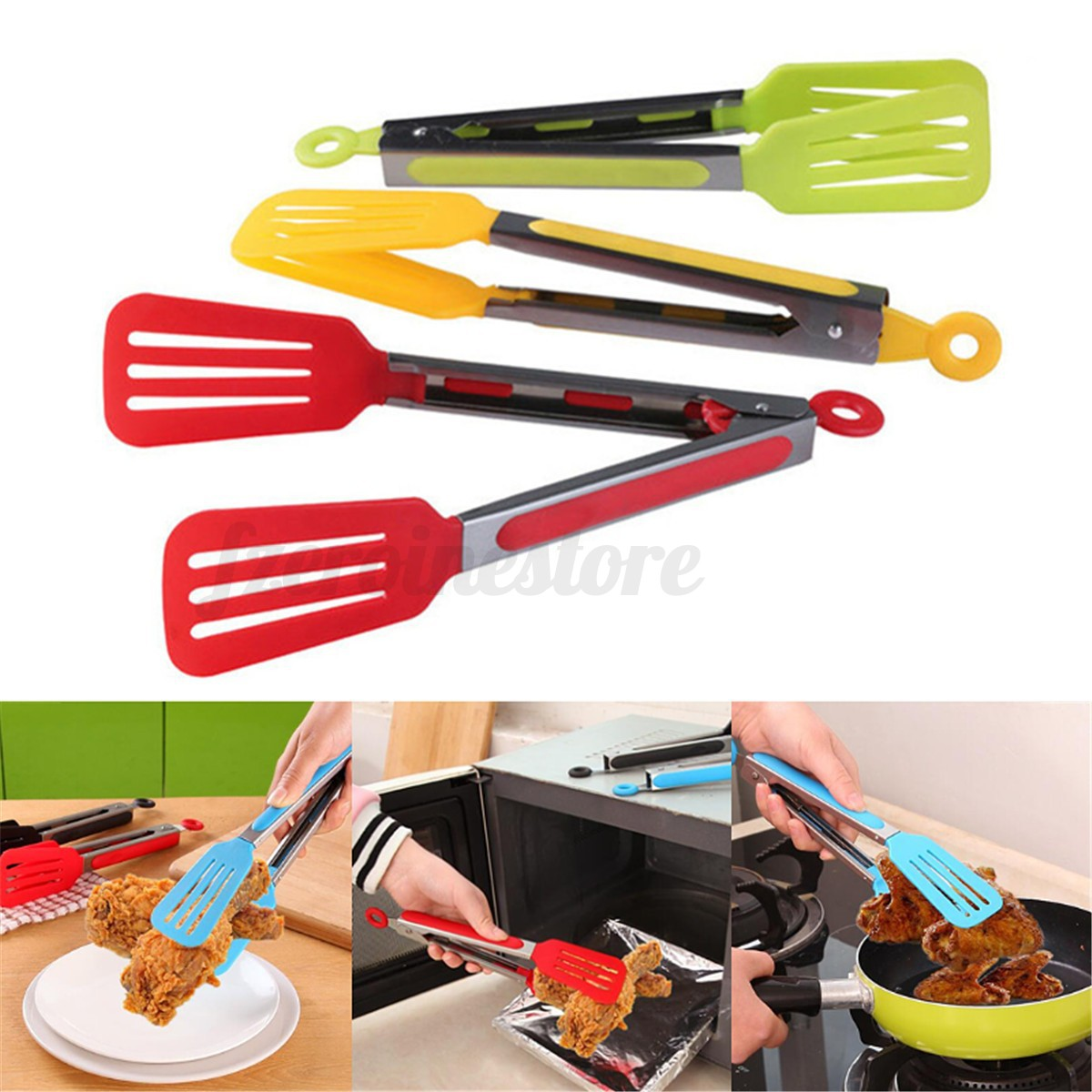 TPR & Stainless Steel Tong BBQ Cooking Food Salad Serving
