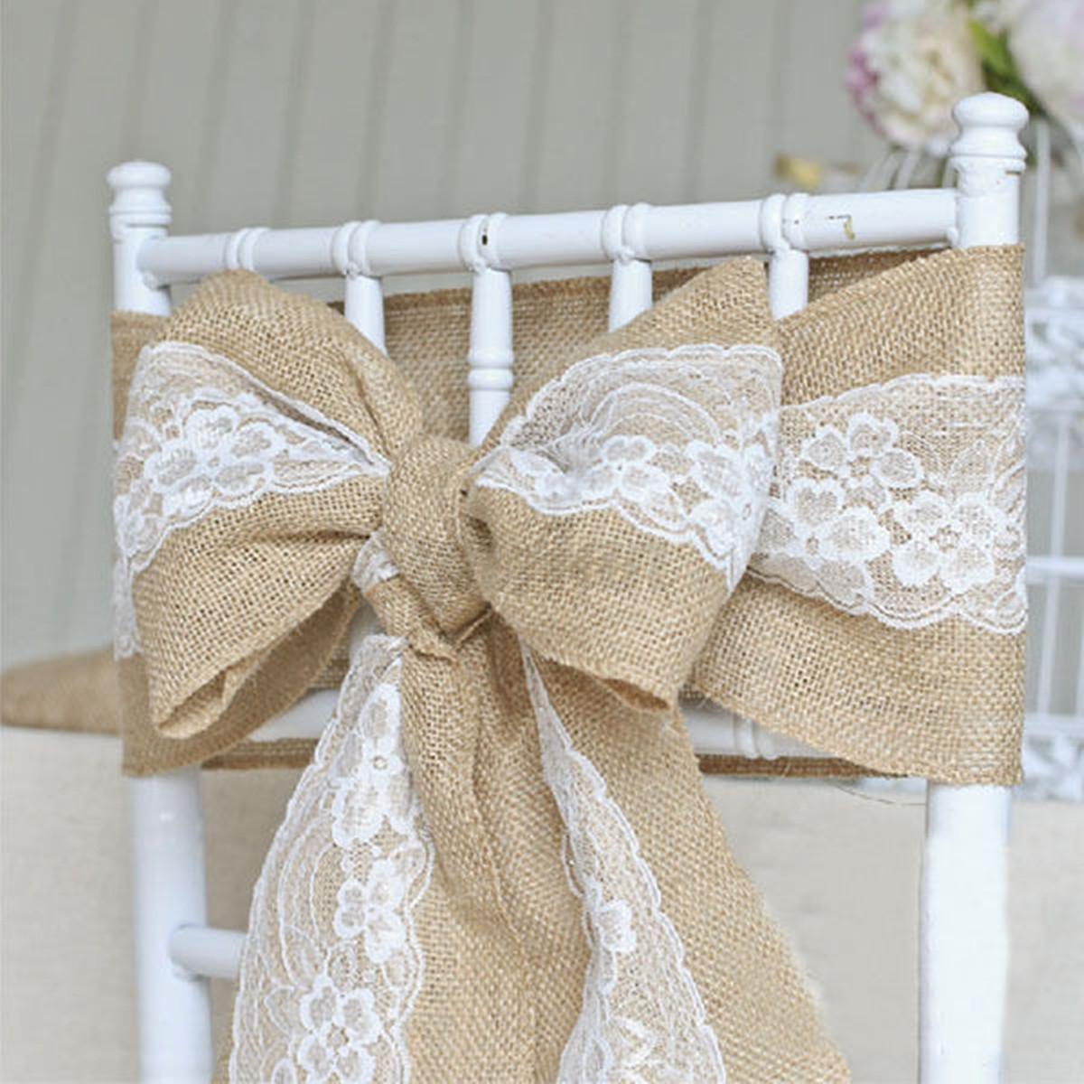 15 x 240cm vintage hessian burlap jute lace chair sashes. Black Bedroom Furniture Sets. Home Design Ideas