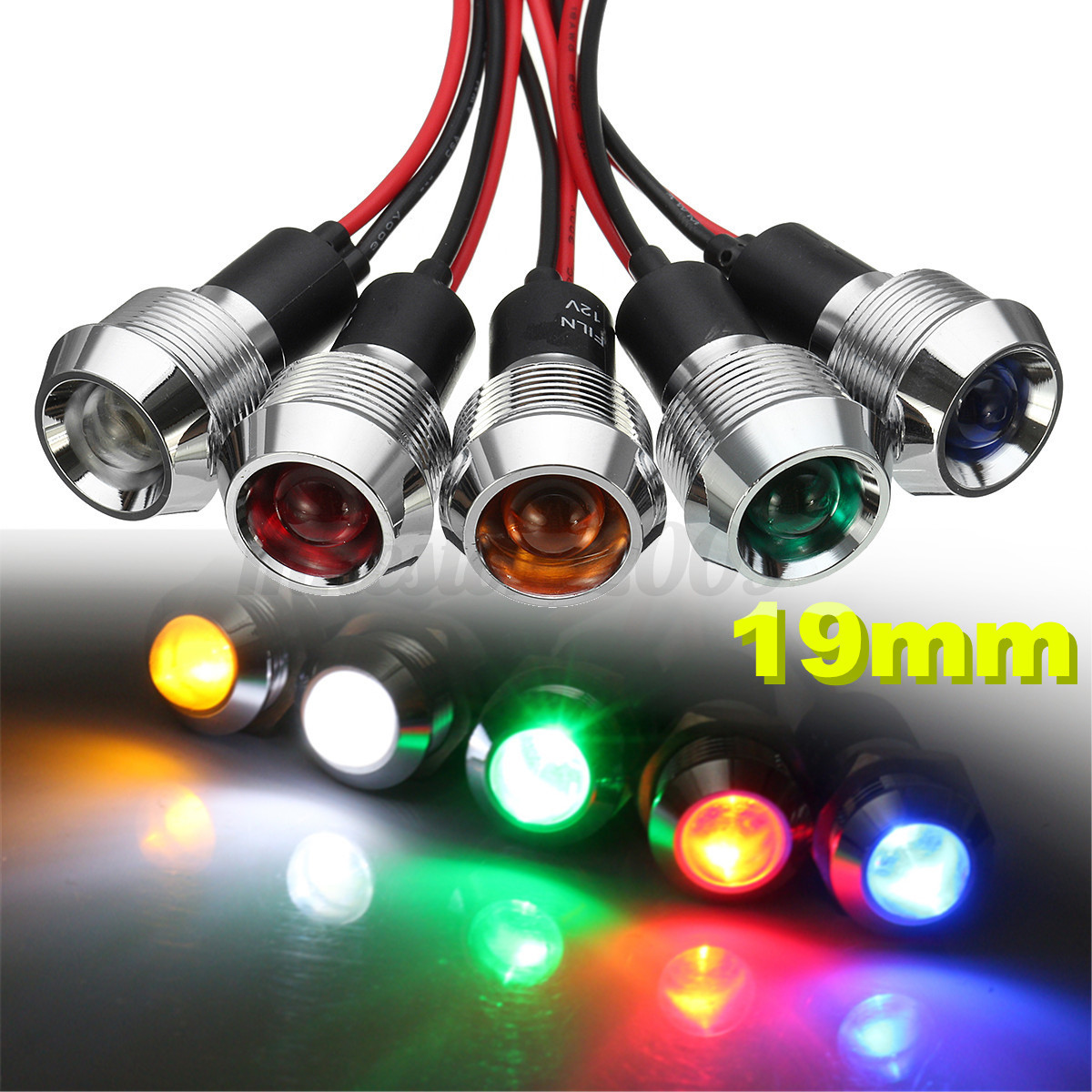 Warning Indicator Lights: 12V 19mm LED Dash Pilot Panel Indicator Warning Light Lamp