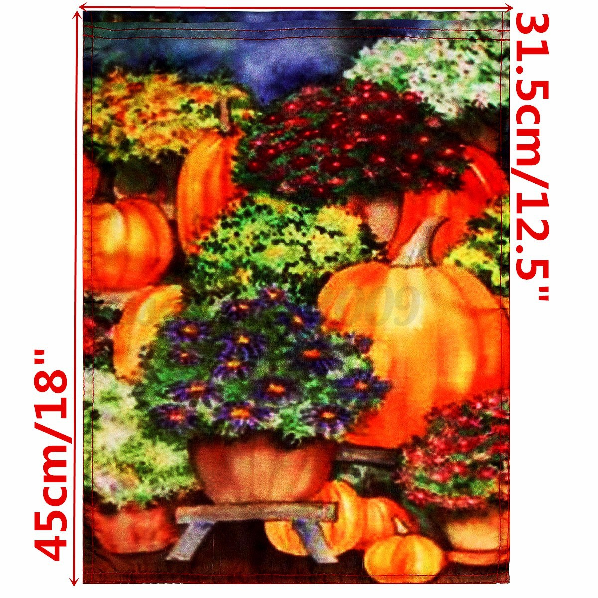 halloween pumpkin mums flowers fall glory garden flag yard banner