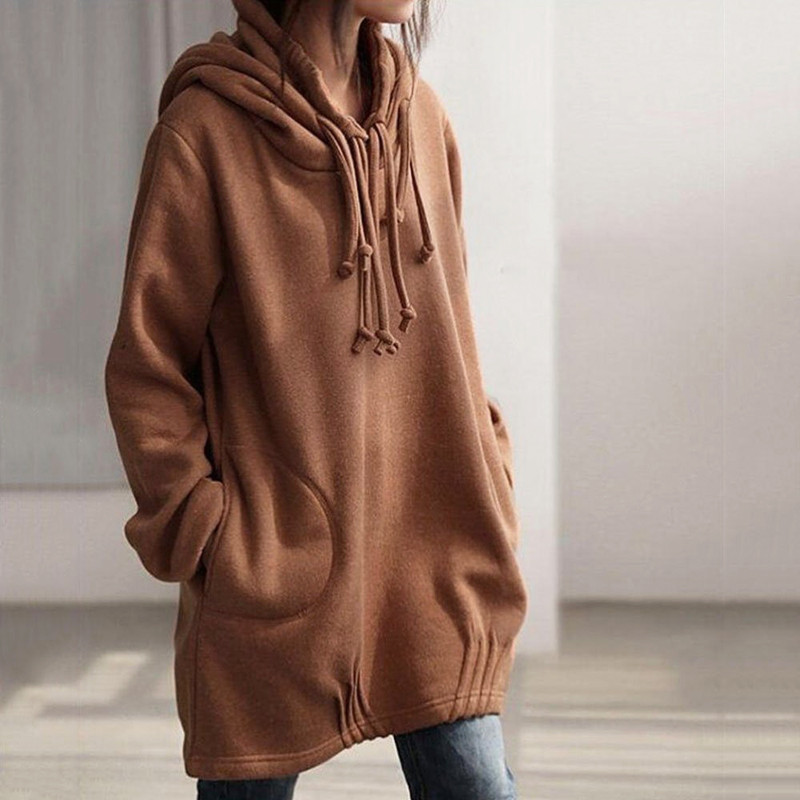 Women Loose Fleece Lining Long Sleeve Sweat Shirt Hooded Hoodies Tops Blouse