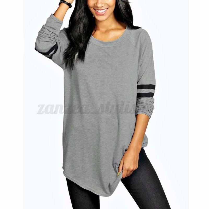Women-Long-Sleeve-Baseball-Shirt-Basic-T-shirt-Tee-Top-Plus-Size-Tunic-Blouse