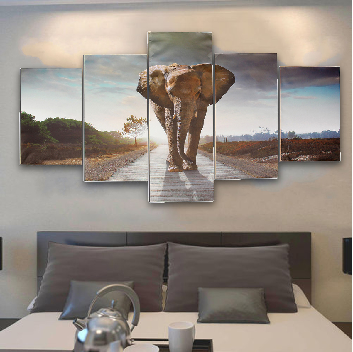 Details About 5 Panel Unframed Elephant Canvas Prints Home Decor Wall Art Canvas Painting