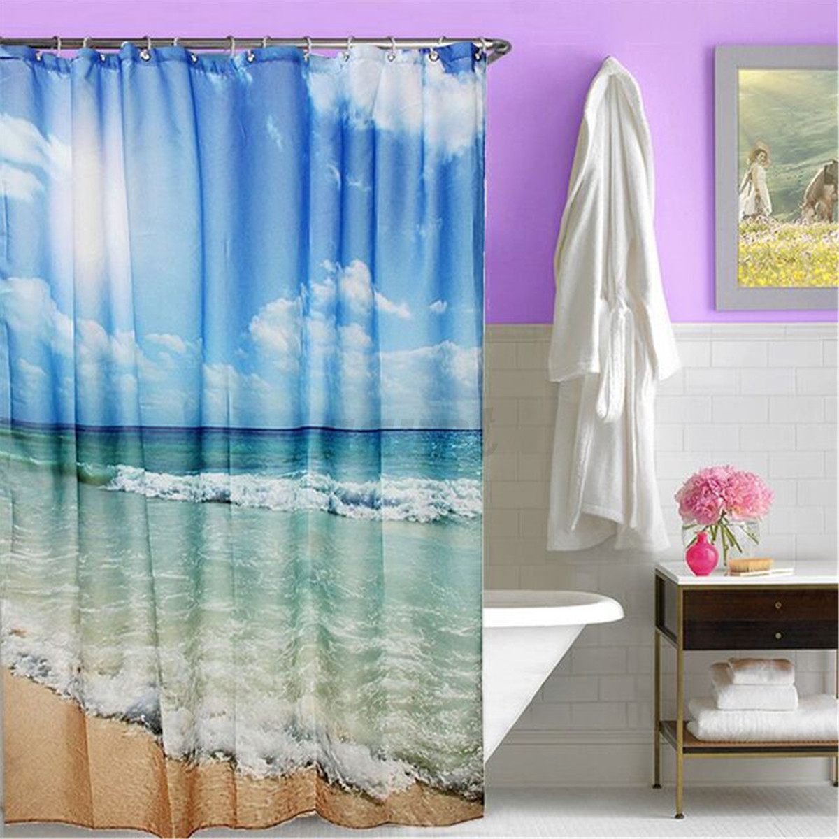 Various Shower Curtain Waterproof Polyester Fabric Bathroom Bath Decor With Hook