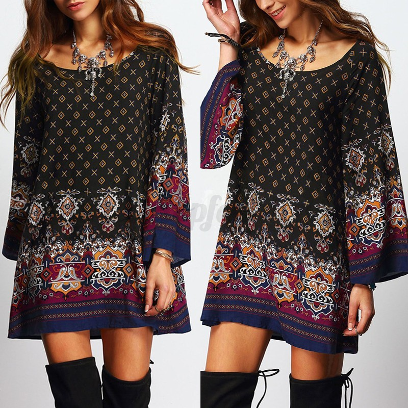 UK-8-24-ZANZEA-Women-Floral-Print-Long-Tops-Shirt-Tunic-Casual-Mini-Dress-Kaftan