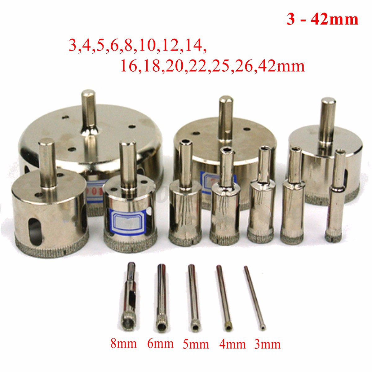 15pcs 3 42mm Diamond Hole Saw Set Drill Bit Cutter Tile