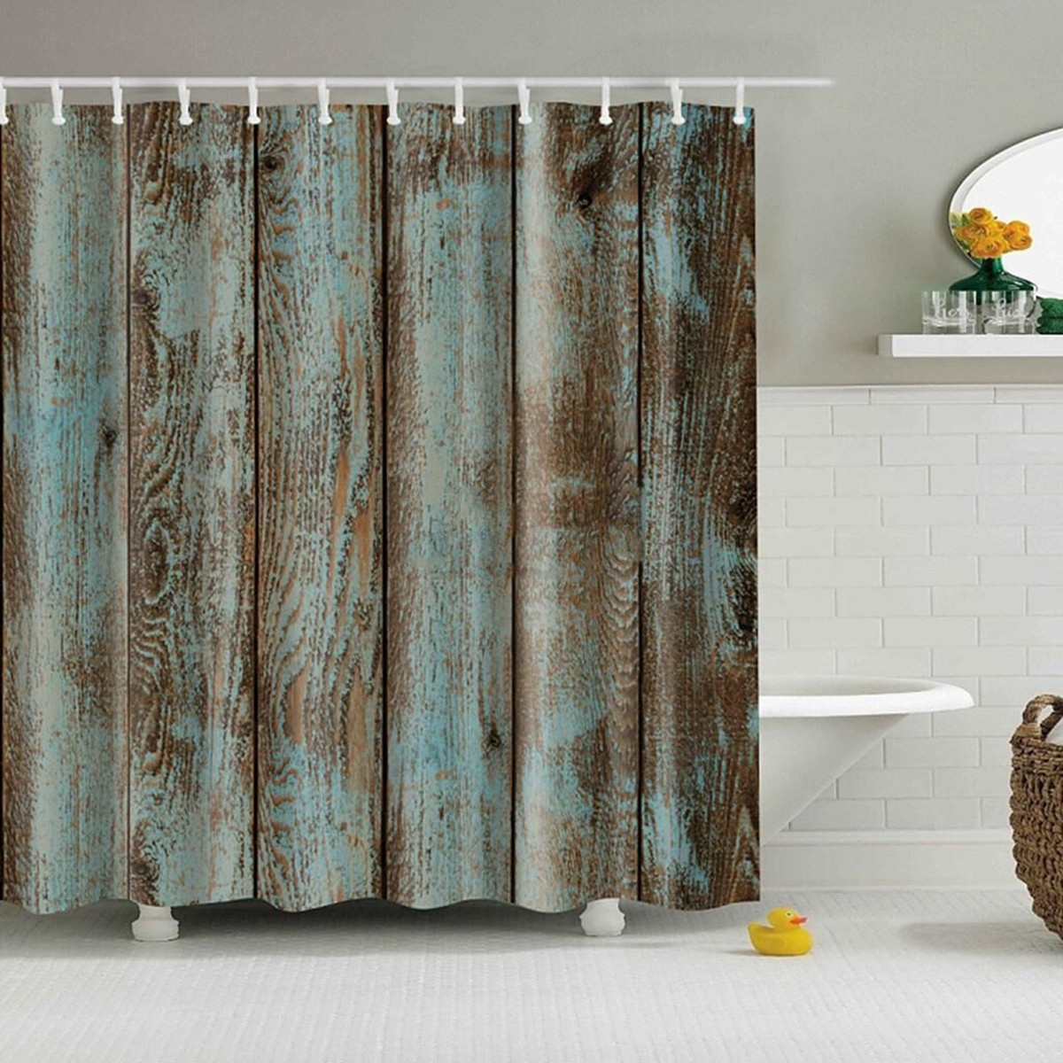 12 Hooks Shabby Wood Waterproof Polyester Fabric Shower Curtain Bathroom Sheer