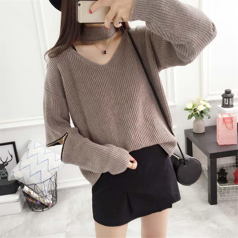 oversize damen strickjacke zip split sweater jumper. Black Bedroom Furniture Sets. Home Design Ideas