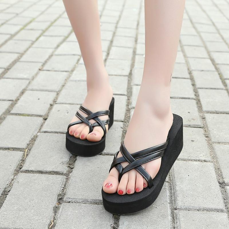 Womens Thong Strap Flip Flops High Heel Slippers Platform Summer Wedge Sandals  Ebay-8369