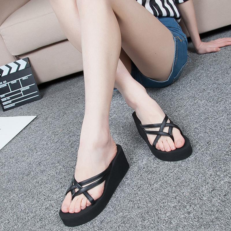 Womens Thong Strap Flip Flops High Heel Slippers Platform Summer Wedge Sandals  Ebay-8305