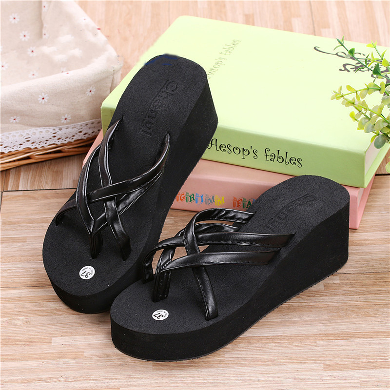 Womens Thong Strap Flip Flops High Heel Slippers Platform Summer Wedge Sandals  Ebay-8094