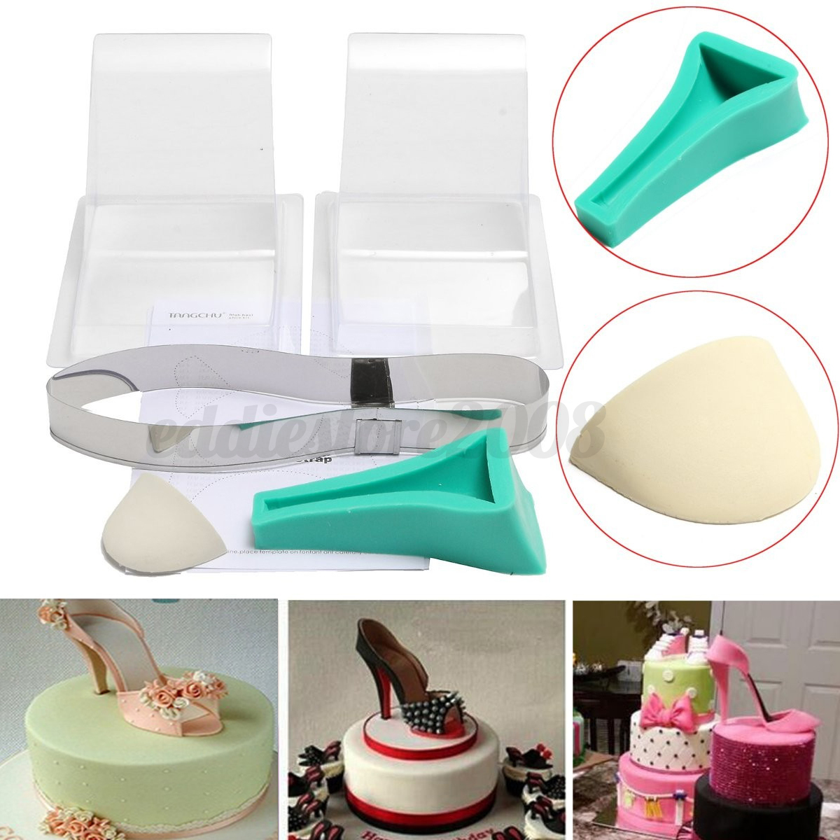 High heel shoe kit silicone fondant cake mould template for Decor 6 template