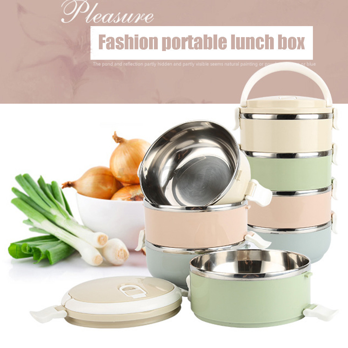 portable stainless steel thermal insulated lunch box bento. Black Bedroom Furniture Sets. Home Design Ideas