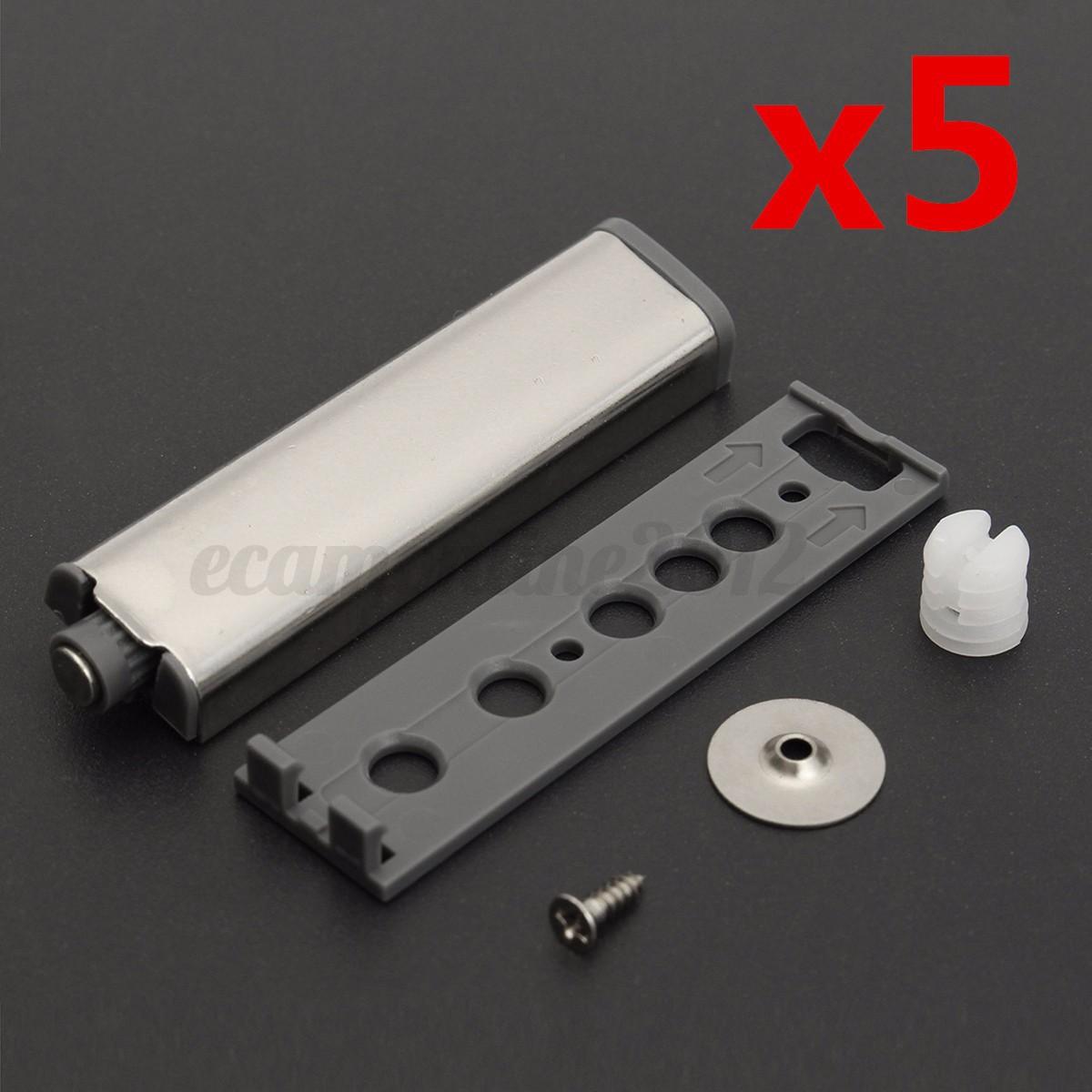 5pcs cabinet door drawer push to open system damper buffer catch latch magnetic ebay. Black Bedroom Furniture Sets. Home Design Ideas