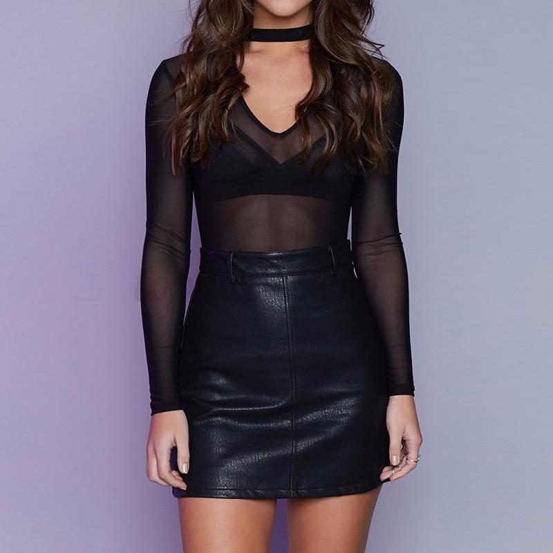 2017-Women-V-Neck-Choker-See-Through-Long-Sleeve-Mesh-Sheer-Tops-T-Shirt-Blouse