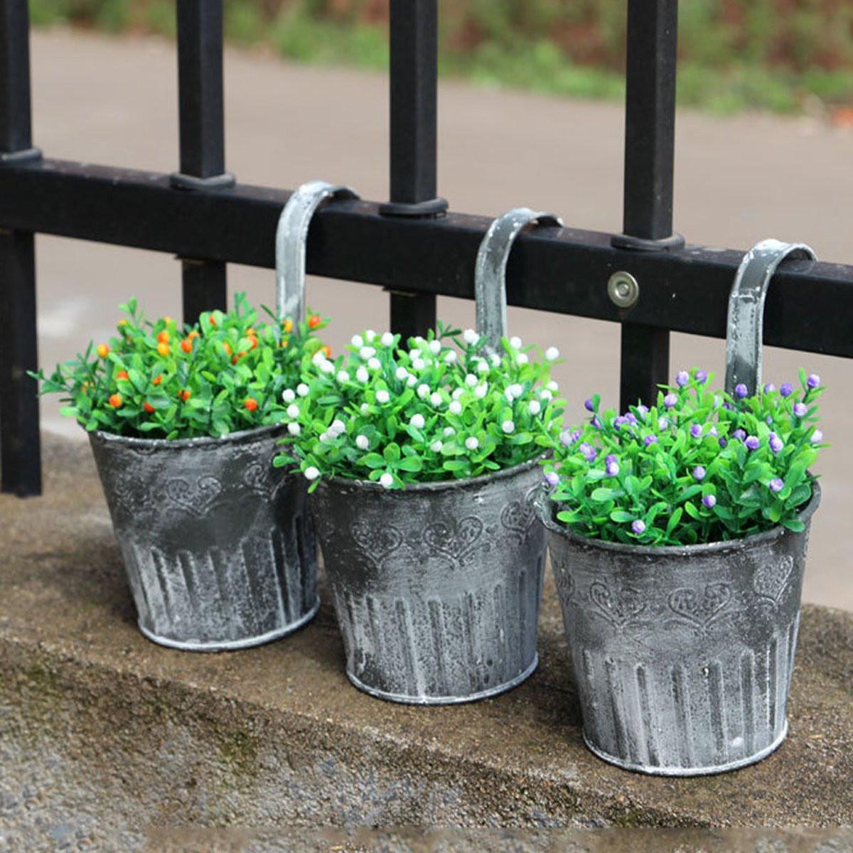vintage metal hanging planter flower pot balcony garden. Black Bedroom Furniture Sets. Home Design Ideas