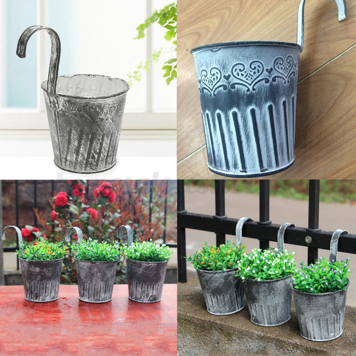 Vintage metal hanging planter flower pot balcony garden for Decorative hanging pots