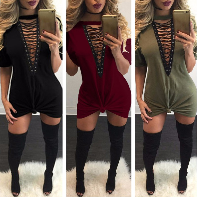 UK Women Sexy V Plunge Lace Up Short Sleeve Skinny Top T-shirt Party ... 4a0b69d65