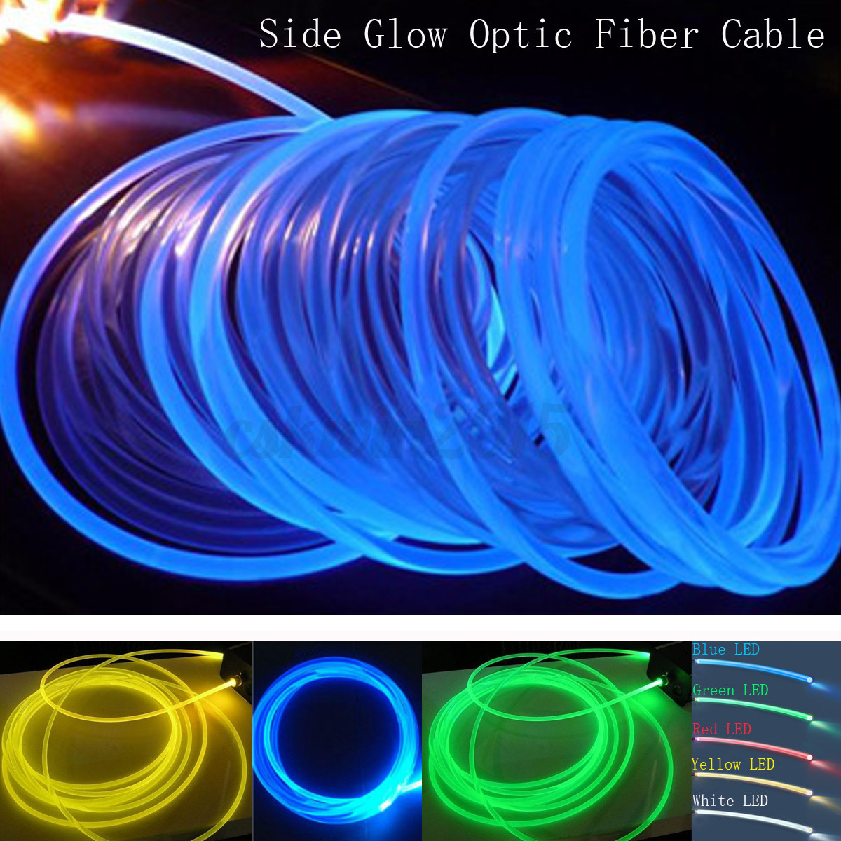 2mm/3.0mm/4mm 5M Voiture Intérieur Eclairage LED Side Glow Fiber ...