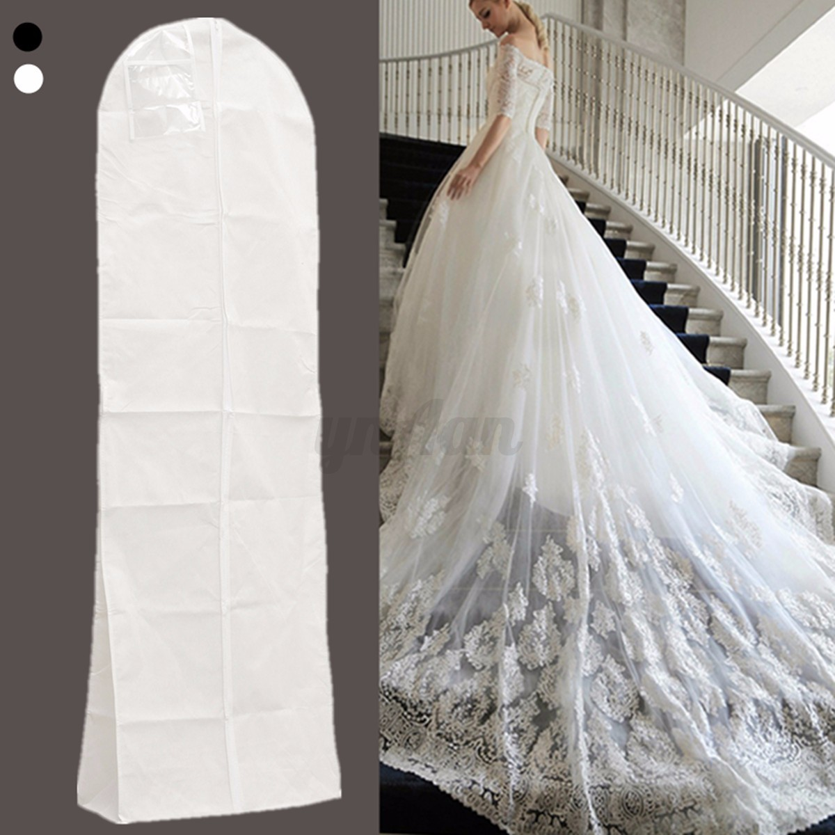 Wedding Gown Preservation Bag: Breathable Bridal Gown Dust Cover Garment Clothes Storage