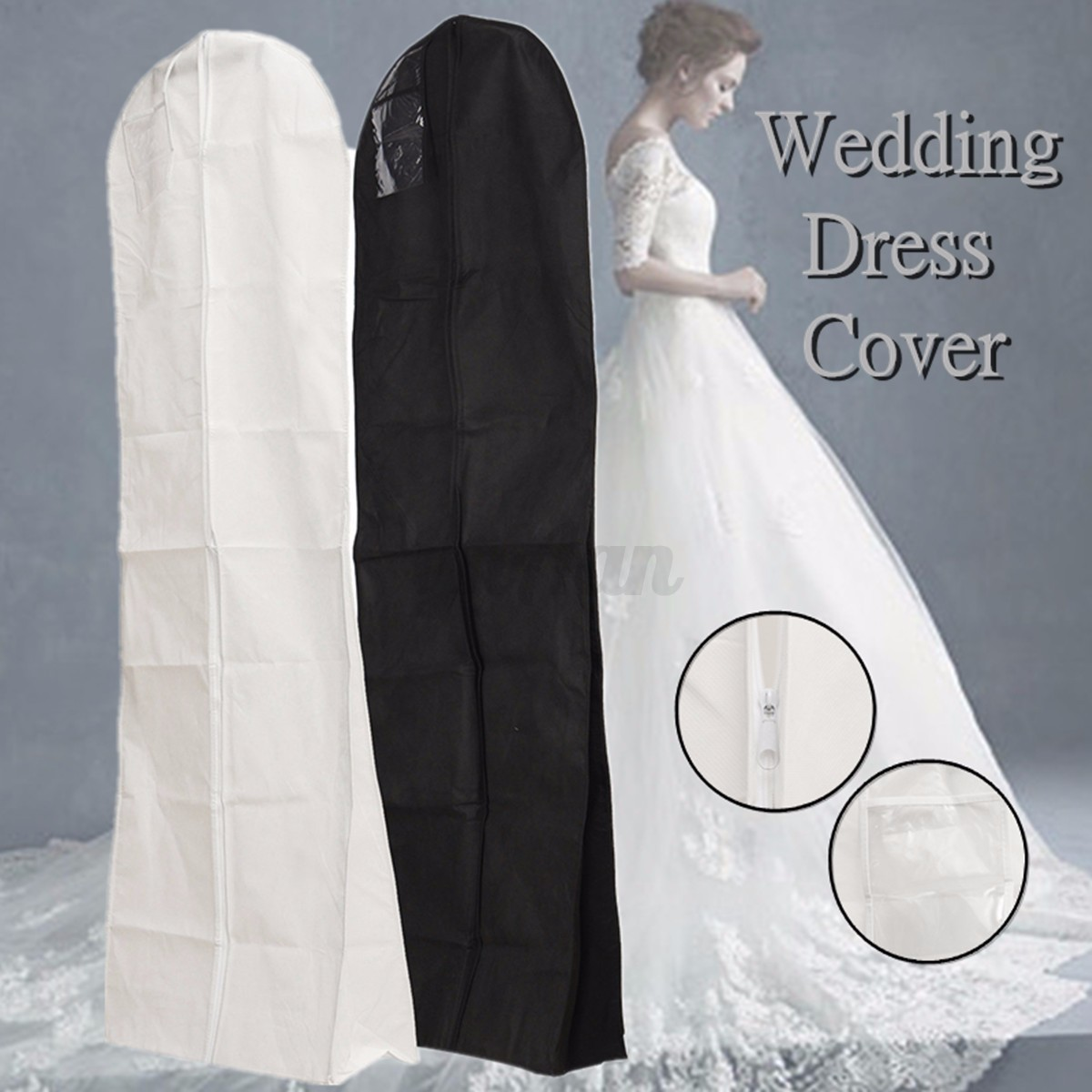 bridal gown dust cover garment clothes storage zip bag wedding dress