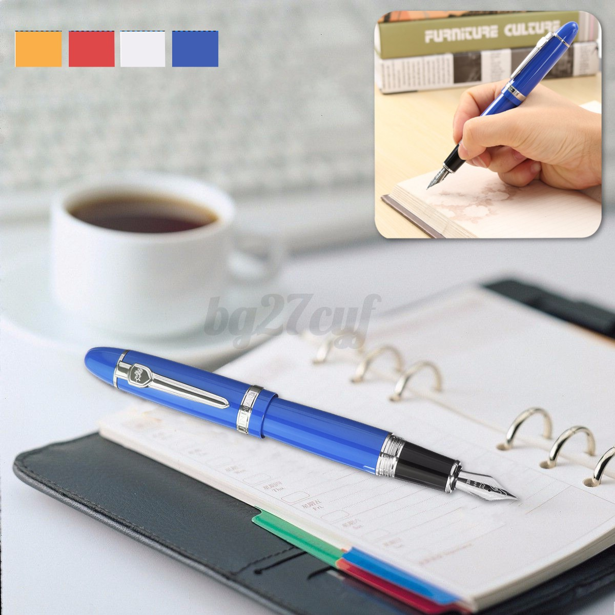 JINHAO-159-Frosted-Medium-Nib-Fountain-Pen-School-Office-Writing-Clip-Gift-Metal